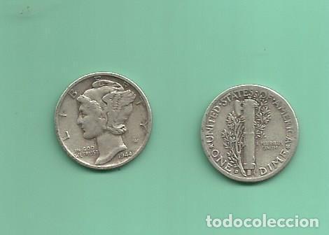 MONEDA DE PLATA DIME 1944-D MONEDA DE 2,5 GRAMOS DE LEY 0,900 (Numismática - Extranjeras - América)