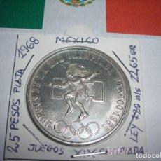 Monedas antiguas de América: BONITA MONEDA DE PLATA DE 25 PESOS DE LOS ESTADOS UNIDOS MEXICANOS. XIX OLIMPIADA 1968.(E. B. C.+). Lote 171991743