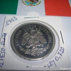 Monedas antiguas de América: UN PESO DE PLATA MEXICANO AÑO 1943. (E. B. C.). Lote 172112403