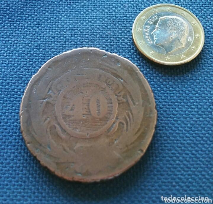 Monedas antiguas de América: 40 céntimos 1857 Uruguay - Foto 2 - 172532035