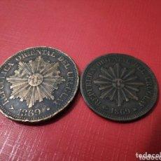 Monedas antiguas de América: 2 Y 4 CENTESIMOS 1869. URUGUAY. PRECIOSOS.. Lote 172953365