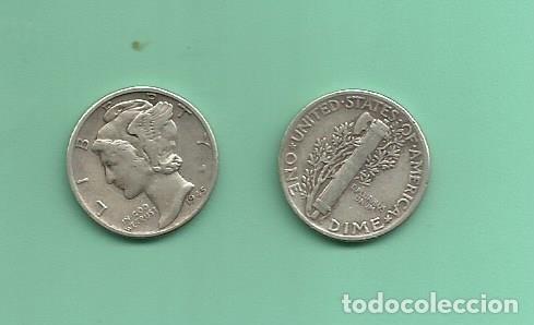 MONEDA DE PLATA DIME 1945 MONEDA DE 2,5 GRAMOS DE LEY 0,900 (Numismática - Extranjeras - América)