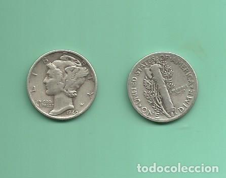 MONEDA DE PLATA DIME 1940 MONEDA DE 2,5 GRAMOS DE LEY 0,900 (Numismática - Extranjeras - América)