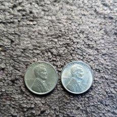Monedas antiguas de América: ESTADOS UNIDOS, 1 CENTAVO LINCOLN 1943 LOTE 2 MONEDAS (VER DESCRIPCION). Lote 173898884