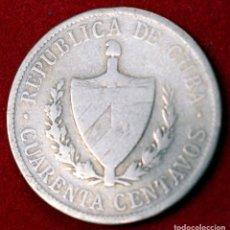 Monedas antiguas de América: CUBA, 40 CENTAVOS 1915 PLATA SILVER. Lote 173945068