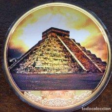 Monedas antiguas de América: MUY BONITO MEDALLON CON ORO DEL TEMPLO DE KUKULKÁN CIUDAD MAYA CHICHÉN ITZÁ. Lote 174238375