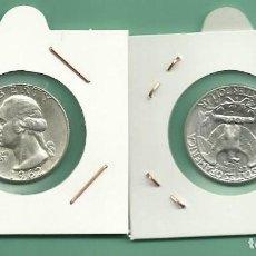 Monedas antiguas de América: PLATA-USA. 2 MONEDAS DE QUARTER 1962,1962-D . MONEDAS DE 6,25 GR.LEY 0,900. Lote 174995673