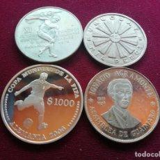 Monedas antiguas de América: URUGUAY, CUBA, PANAMA. LOTE DE 4 MONEDAS DE PLATA. Lote 175120593