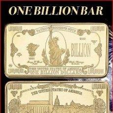 Monedas antiguas de América: LINGOTE 1 BILLON DE DOLARES ( ESTATUA DE LA LIBERTAD ) . Lote 175387387
