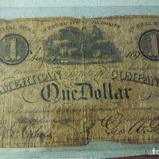 Monedas antiguas de América: BILLETE DE ONE DOLLAR 1837 , NEW YORK, CERIFICATE IN REAL ESTATE. RARO Y DIFÍCIL DE CONSEGUIR. Lote 175631152