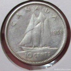 Monedas antiguas de América: CANADÁ. MONEDA DE 10 CENTAVOS (CENTS) 1958. PLATA. Lote 175962362