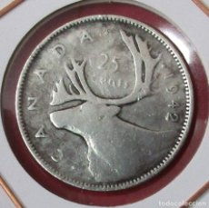Monedas antiguas de América: CANADÁ. MONEDA DE 25 CENTAVOS (CENTS) 1942. PLATA.. Lote 175968345