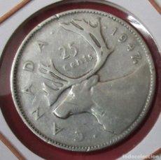 Monedas antiguas de América: CANADÁ. MONEDA DE 25 CENTAVOS (CENTS) 1947. PLATA.. Lote 175971013