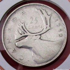Monedas antiguas de América: CANADÁ. MONEDA DE 25 CENTAVOS (CENTS) 1949. PLATA.. Lote 175980940