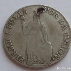 Monedas antiguas de América: MONEDA DE PLATA DE 4 REALES DE 1836 PERU CECA CUZCO,CON AGUJERO,ESCASA. Lote 175989160