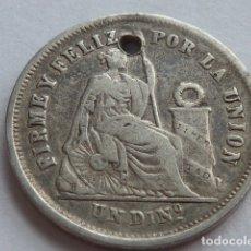 Monedas antiguas de América: MONEDA DE PLATA DE 1 DINERO DE 1866 REPUBLICA DEL PERU, CON AGUJERO, VER BIEN. Lote 175990683