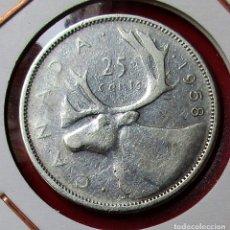 Monedas antiguas de América: CANADÁ. MONEDA DE 25 CENTS. 1958. PLATA.. Lote 176897964