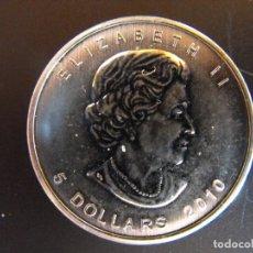 Monedas antiguas de América: CANADA. 1 ONZA DE PLATA. 2010. 5 DÓLARES.. Lote 177405989