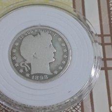 Monedas antiguas de América: MONEDA DE PLATA QUARTER DOLAR 1898 ESTADOS UNIDOS. Lote 177468458
