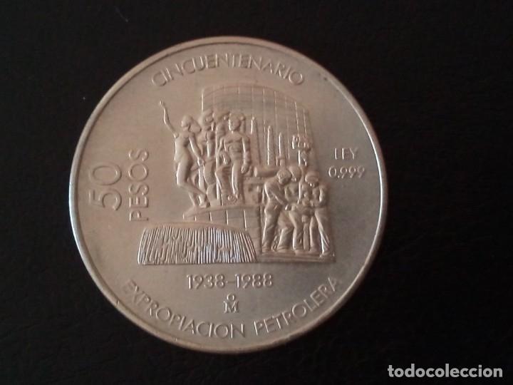 50 PESOS PLATA 1988 CINCUENTENARIO DE LA EXPROPIACIÓN PETROLERA MEJICO (Numismática - Extranjeras - América)
