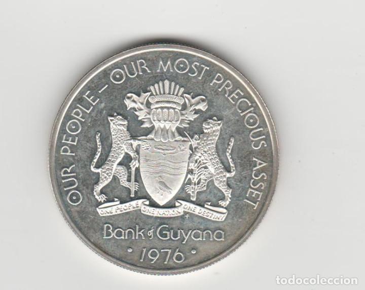 GUYANA- 5 DOLARES-1976-PLATA-PROF (Numismática - Extranjeras - América)