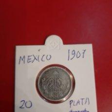 Monedas antiguas de América: 1907 MÉXICO 20 CENTAVOS PLATA. Lote 178884120
