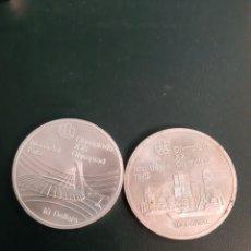 Monedas antiguas de América: 1976 CANADA 10 DOLÁRES DOS MONEDAS PLATA MONTREAL. Lote 178894525