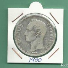 Monedas antiguas de América: PLATA-VENEZUELA 5 BOLIVARES 1900. 25 GRAMOS LEY 0,900. Lote 179007900