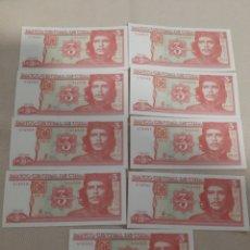 Monedas antiguas de América: LOTE 9 BILLETES DE 3 PESOS CUBA. Lote 179031076