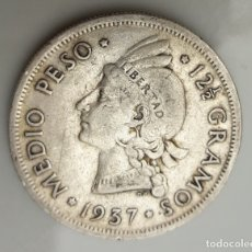Monedas antiguas de América: REPUBLICA DOMINICANA. MEDIO PESO. 1/2 PESO. 1937-ESCASA. Lote 180450092