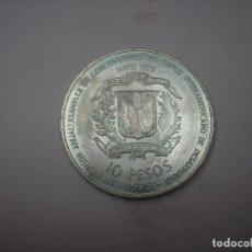Monedas antiguas de América: REPUBLICA DOMINICANA , 10 PESOS DE PLATA DE 1975. FACSIMIL MONEDA ACUÑADA EN LA ESPAÑOLA, SIGLO XVI. Lote 181706565