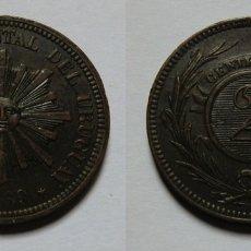 Monedas antiguas de América: URUGUAY 2 CENTESIMOS 1869 ERROR. Lote 181895667