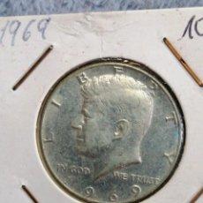 Monedas antiguas de América: MONEDA ESTADOS UNIDOS MEDIO DÓLAR 1969 PLATA KENNEDY. Lote 183771665