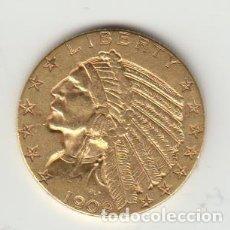 Monedas antiguas de América: MONEDA 5 DOLARES - INDIO - EEUU 1909 - ORO (ORIGINAL). Lote 183772162