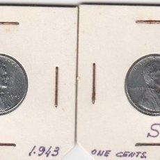 Monedas antiguas de América: DOS MONEDAS E. U. AMERICA 1943 Y 1943 S ONE CENTS. (EN ALUMINIO). S/C DE PAQUETE . Lote 183826398