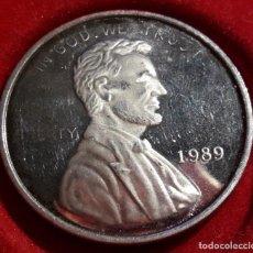 Monedas antiguas de América: ESTADOS UNIDOS, UNA ONZA DE PLATA 1989, LINCOLN. Lote 195134046