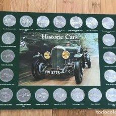 Monedas antiguas de América: COCHES HISTÓRICOS DE SHELL - COMPLETO JUEGO DE 20 MONEDAS EN UNA TARJETA DE PANTALLA. Lote 219212375