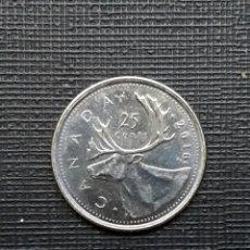Monedas antiguas de América: CANADÁ 25 CENTS 2016 KM493 LOGO. Lote 186087806