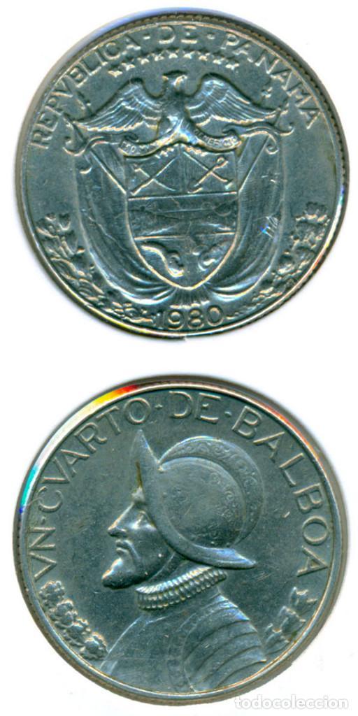PANAMÁ 1 CUARTO DE BALBOA 1980 ( MBC ) KM # 11.2A (Numismática - Extranjeras - América)