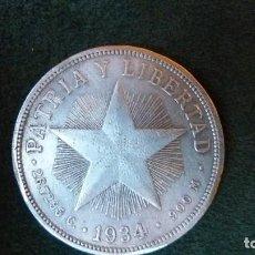 Monedas antiguas de América: CUBA. REPUBLICA DE CUBA. 1 PESO. MONEDA DE PLATA - 0.900 - 26.72 GR. AÑO 1934. VER FOTOS.. Lote 188745985