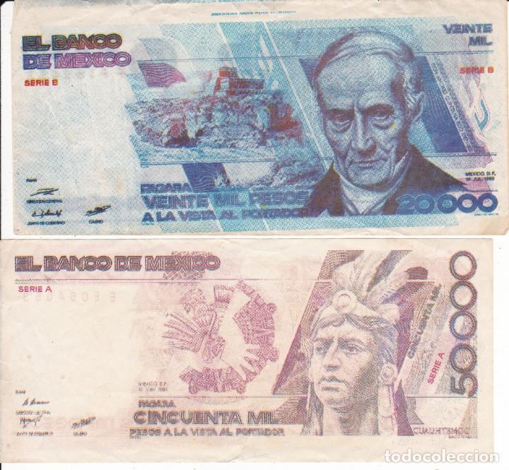 2 BILLETES DE MEXICO 20000 Y 50000 PESOS SERIE B Y SERIE A USADOS PEQUEÑO CORTE ZONA SUP. E INFERIOR (Numismática - Extranjeras - América)