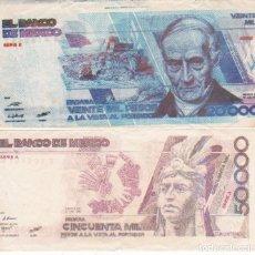 Monedas antiguas de América: 2 BILLETES DE MEXICO 20000 Y 50000 PESOS SERIE B Y SERIE A USADOS PEQUEÑO CORTE ZONA SUP. E INFERIOR. Lote 189569735