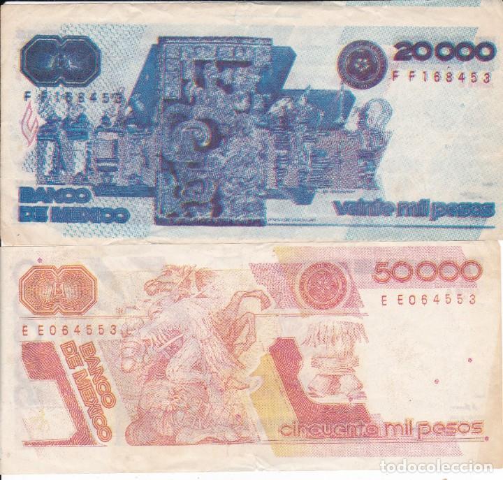 Monedas antiguas de América: 2 billetes de Mexico 20000 y 50000 pesos serie B y serie A usados pequeño corte zona sup. e inferior - Foto 2 - 189569735