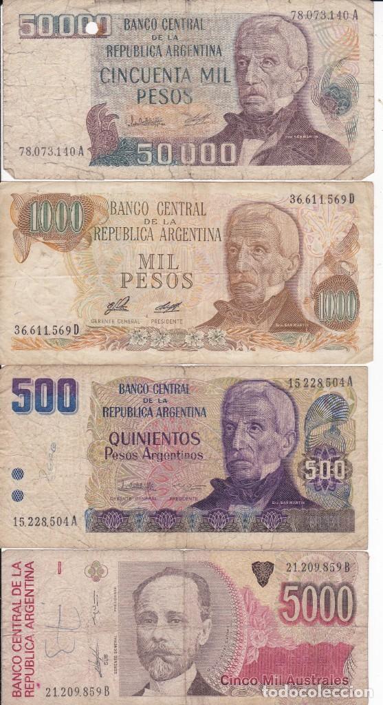 4 BILLETES DE ARGENTINA 50000, 5000, 1000 Y 500 PESOS USADOS (Numismática - Extranjeras - América)