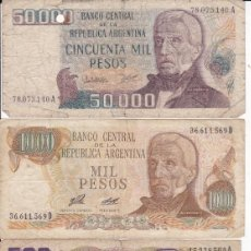 Monedas antiguas de América: 4 BILLETES DE ARGENTINA 50000, 5000, 1000 Y 500 PESOS USADOS . Lote 190146855