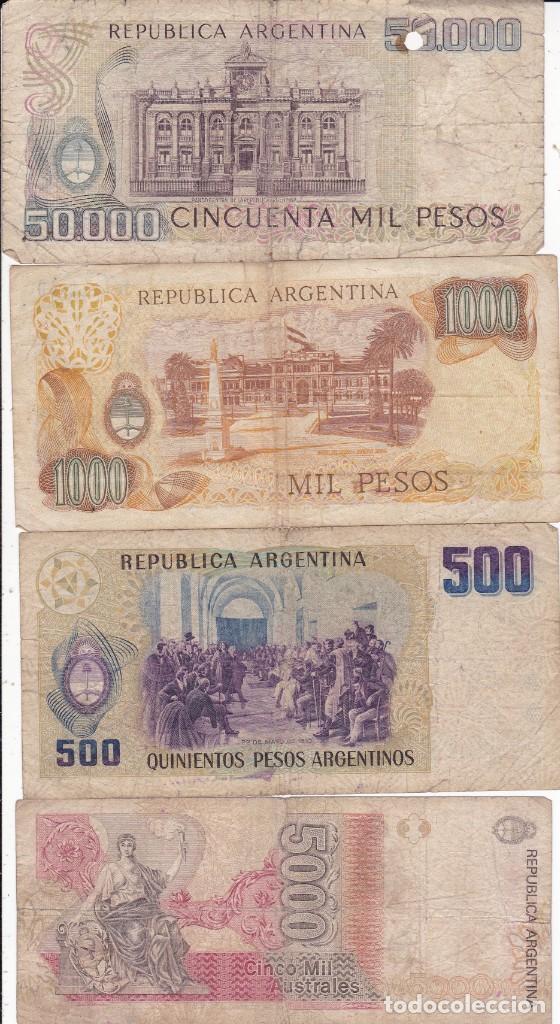 Monedas antiguas de América: 4 billetes de Argentina 50000, 5000, 1000 y 500 pesos usados - Foto 2 - 190146855