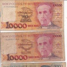 Monedas antiguas de América: 3 BILLETES DE BRASIL DE 10000 (2) Y 5000 (1) USADOS . Lote 190365581