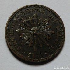 Monedas antiguas de América: URUGUAY 2 CENTESIMOS 1869 H. EBC. ERROR. Lote 181895667