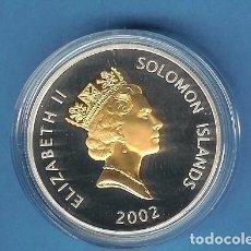 Monedas antiguas de América: PLATA-ISLAS SOLOMON 5 DOLLARS 2002. 28,28 GRAMOS DE LEY 0,925, ROSTRO REAL RESALTADO EN ORO. Lote 192660001