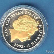 Monedas antiguas de América: PLATA-ESTADOS DEL CARIBE 10 DOLLARS 2002. 28,28 GRAMOS DE LEY 0,925, ROSTRO REAL RESALTADO EN ORO. Lote 192661817